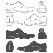 Set of black and white illustrations with classic men's shoes. Isolated vector objects on white background.