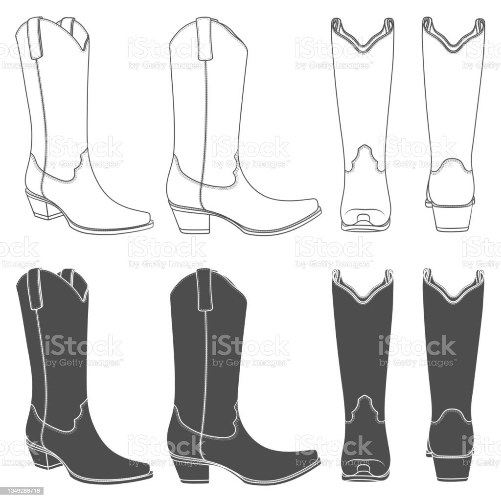 Set of black and white illustrations with cowboy boots. Isolated vector objects. vector art illustration