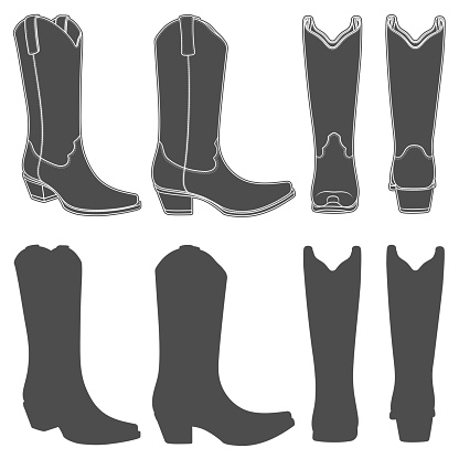 Set of black and white illustrations with cowboy boots. Isolated vector objects.