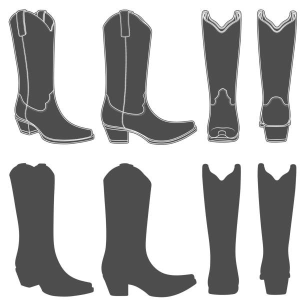 satz von schwarz / weiß illustrationen mit cowboy-stiefel. isolierte vektorobjekte. - cowboystiefel stock-grafiken, -clipart, -cartoons und -symbole