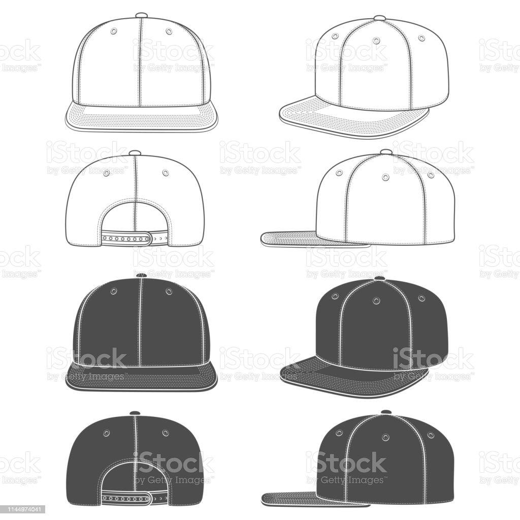Set van zwart-wit beelden van een rapper Cap met een platte vizier, SnapBack. Geïsoleerde objecten. - Royalty-free Baseballpet vectorkunst