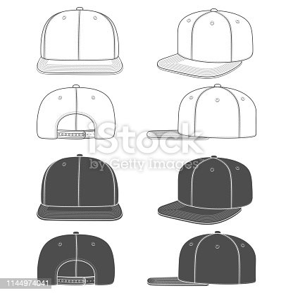Set of black and white images of a rapper cap with a flat visor, snapback. Isolated objects on white background.