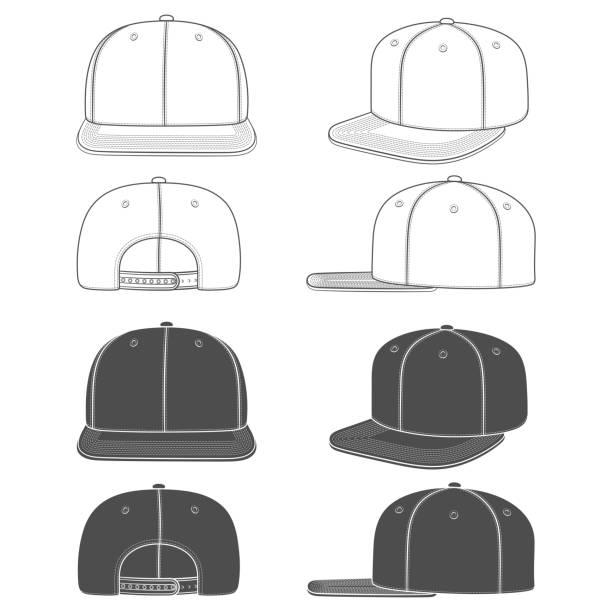illustrations, cliparts, dessins animés et icônes de ensemble d'images en noir et blanc d'une casquette de rappeur avec une visière plate, snapback. objets isolés. - chapeau