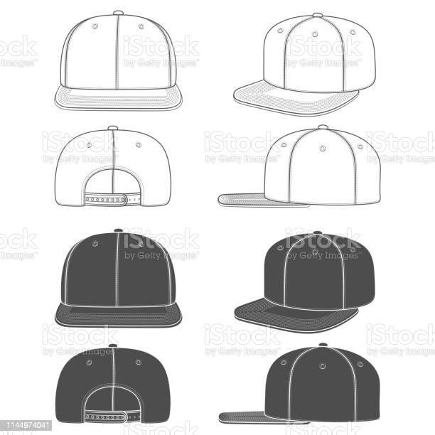 Set Van Zwartwit Beelden Van Een Rapper Cap Met Een Platte Vizier Snapback Geïsoleerde Objecten Stockvectorkunst en meer beelden van Baseballpet
