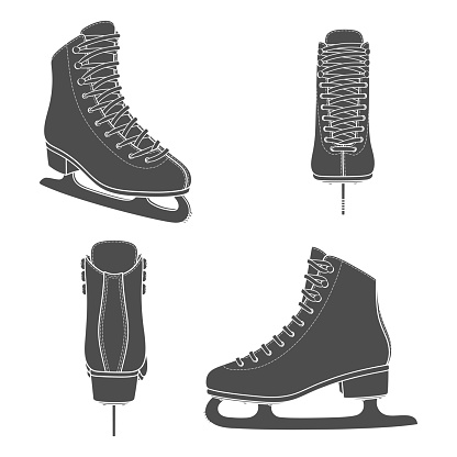 Set of black and white images with skates for figure skating. Isolated vector objects.