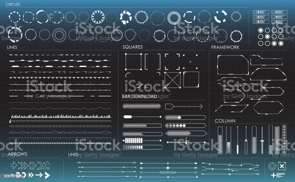 set of black and white infographic elements. Head-up display elements for the web and app. Futuristic user interface royalty-free set of black and white infographic elements headup display elements for the web and app futuristic user interface stock illustration - download image now