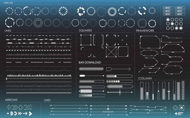 zestaw czarno-białych elementów infograficznych. elementy wyświetlania head-up dla internetu i aplikacji. futurystyczny interfejs użytkownika - futurystyczny stock illustrations