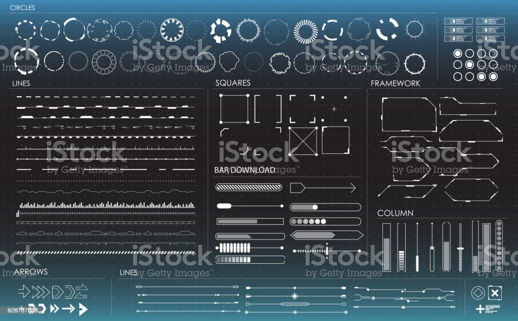 ensemble d'éléments infographiques noir et blanc. Éléments d'affichage tête haute pour l'interface futuriste web et App. - Illustration vectorielle