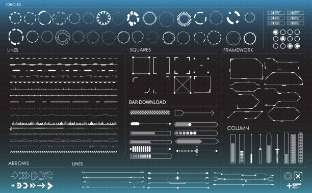 set of black and white infographic elements. head-up display elements for the web and app. futuristic user interface - futurystyczny stock illustrations