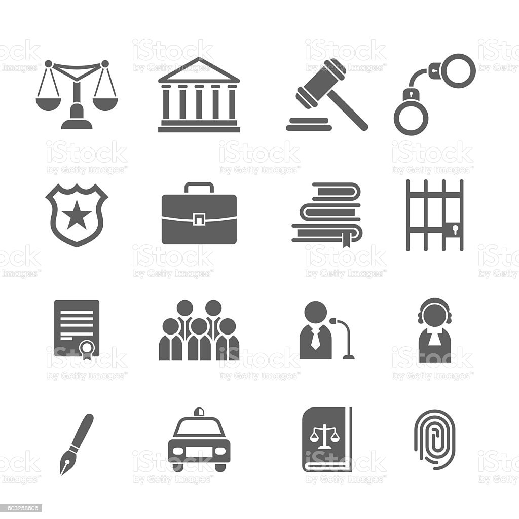 Set of black and white law and justice icons. vector art illustration