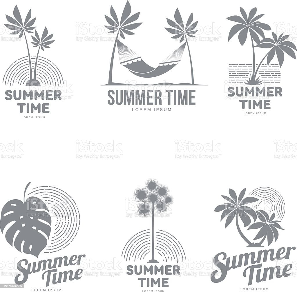 Set Of Black And White Logo Templates With Palm Tree Stock Vektor