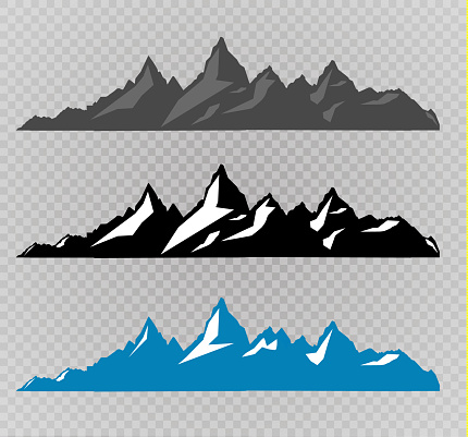 Set of black and white mountain silhouettes.Background border of rocky mountains.Vector illustration