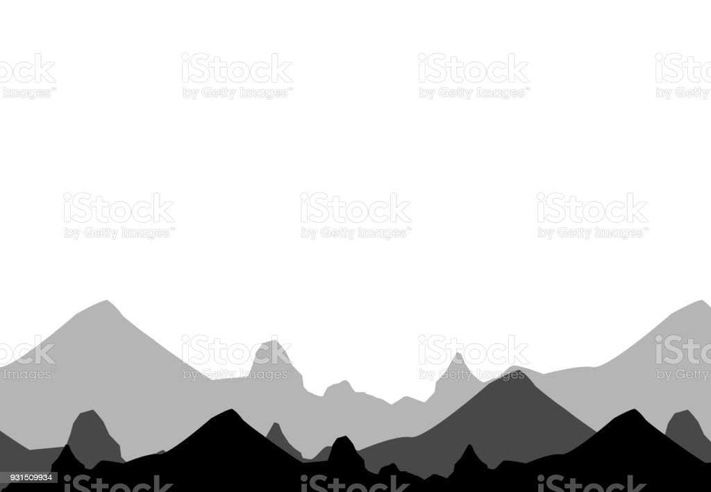 set of black and white mountain silhouettesbackground