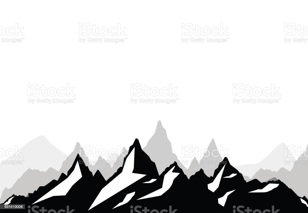 set of black and white mountain silhouettesbackground