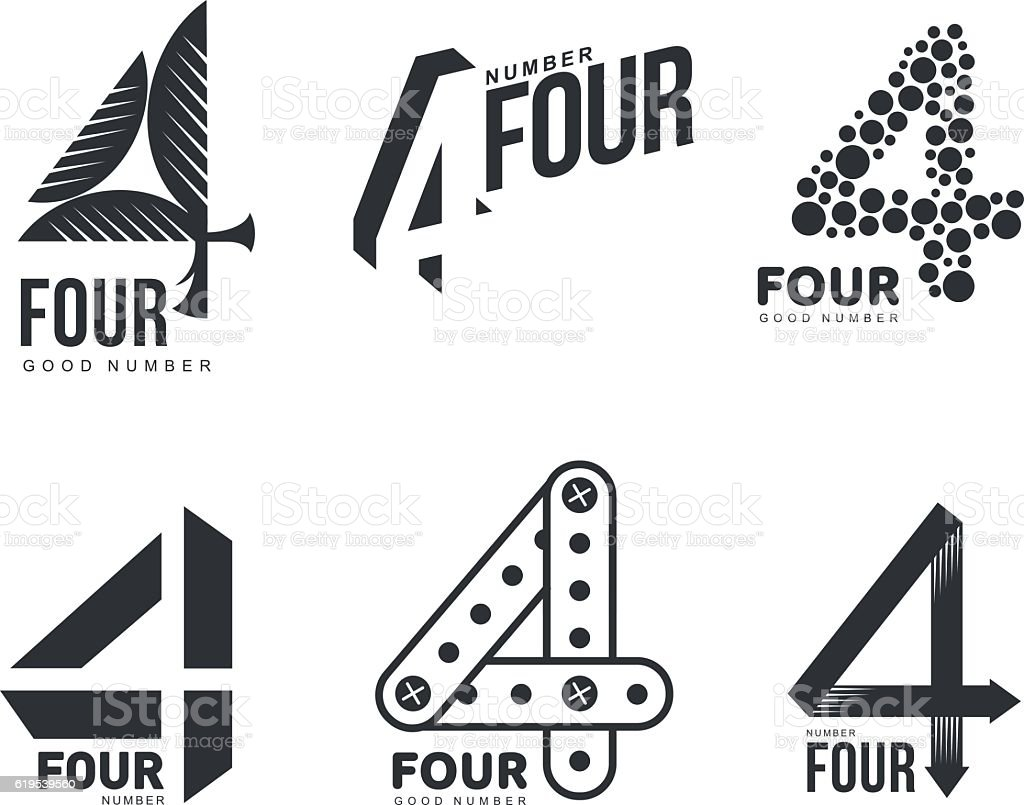 Set of black and white number four logo templates vector art illustration
