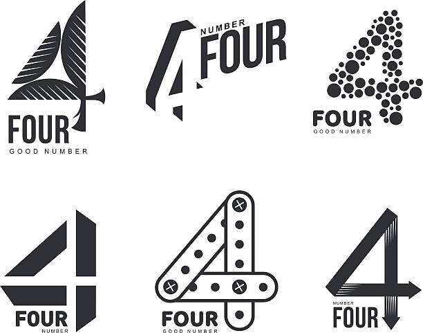 Set of black and white number four logo templates Set of black and white number four logo templates, vector illustrations isolated on white background. Black and white graphic number four logo templates - technical, organic, abstract four people stock illustrations