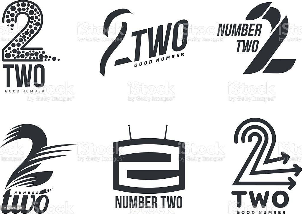 Set of black and white number two logo templates vector art illustration