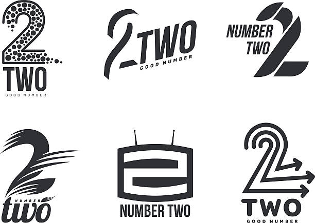 Set of black and white number two logo templates Set of black and white number three logo templates, vector illustrations isolated on white background. Black and white graphic number three logo templates - technical, abstract, dynamic gezond stock illustrations