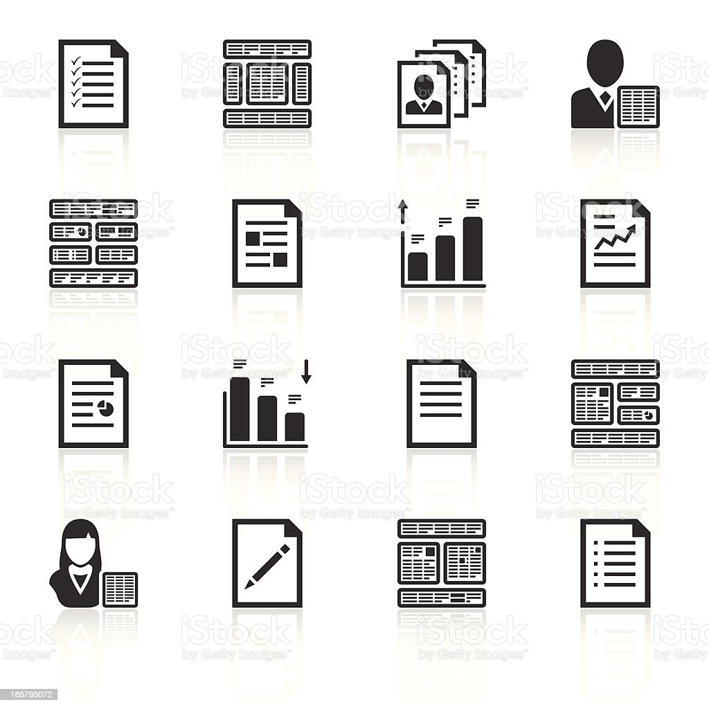 Set of black and white office icons vector art illustration
