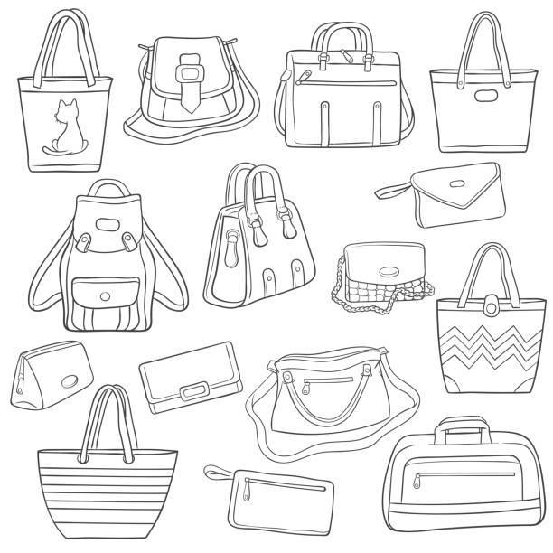 satz von schwarzen und weißen umriss taschen kollektion - laptoptaschen stock-grafiken, -clipart, -cartoons und -symbole