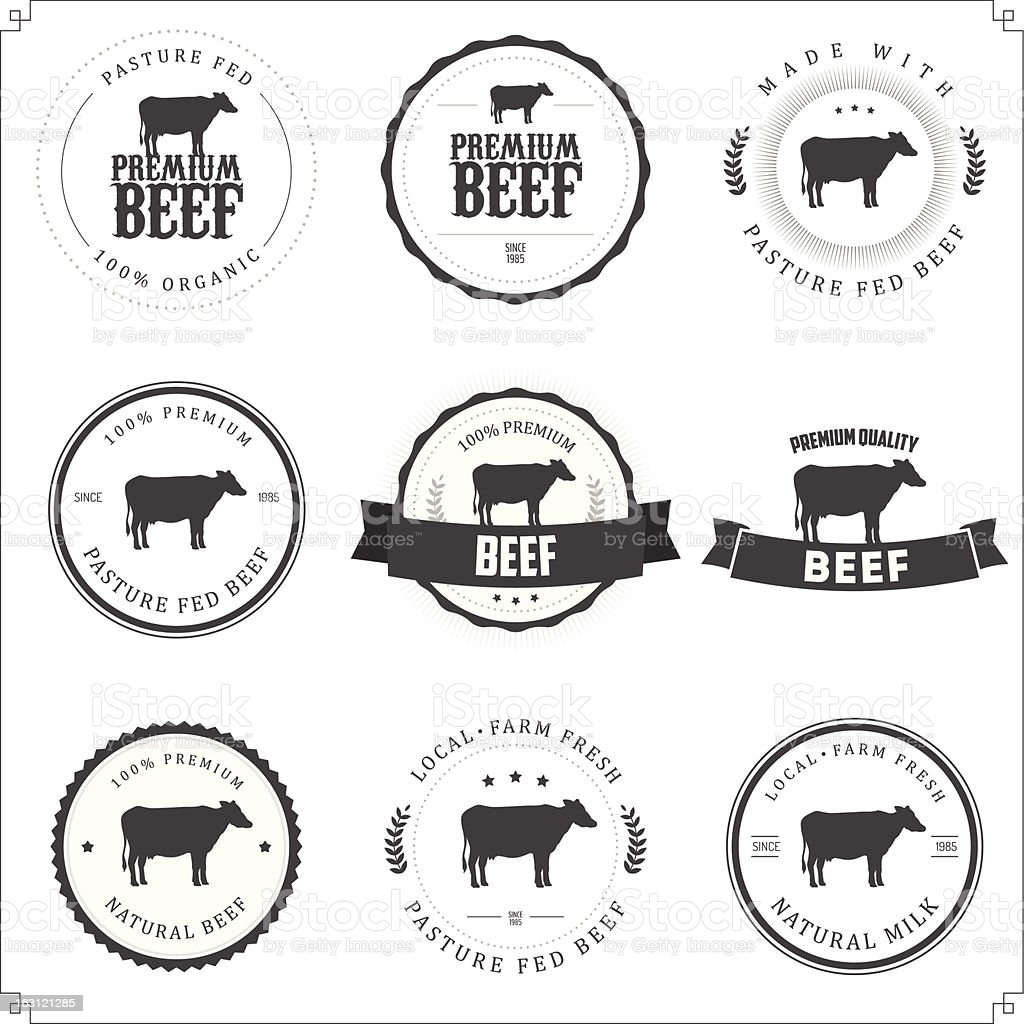 Set of black and white premium beef labels vector art illustration