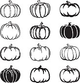 Pumpkins, set of different styles.