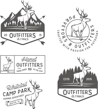 Set of vintage outdoors labels, badges and design elements.