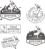 Set of black and white retro outdoors camping icons
