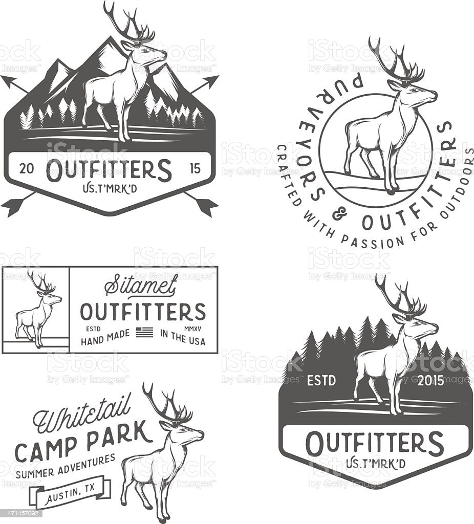 Set of black and white retro outdoors camping icons vector art illustration
