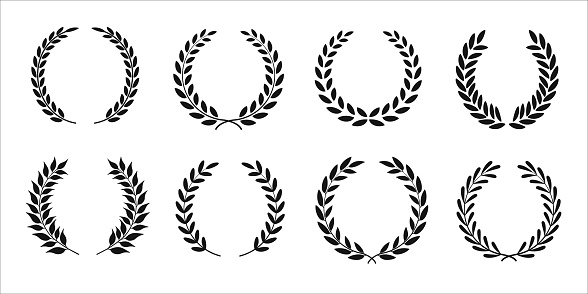 Set of black and white silhouette of circular laurel wreaths depicting award, achievement, heraldry, nobility. Vector illustration eps 10