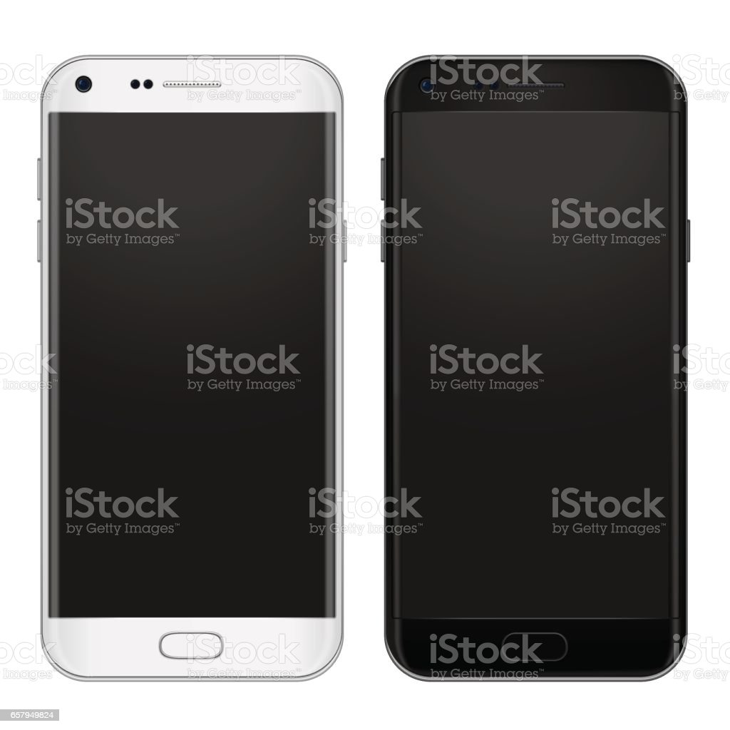 Set of black and white smart phone with empty screen to present your app, design. Vector illustration. vector art illustration
