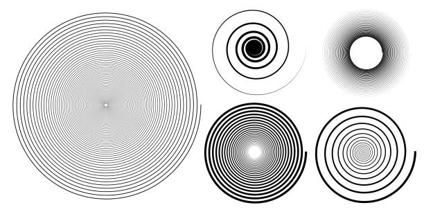 Set of black and white spiral background, hypnotic swirl Set of black and white spiral background, hypnotic swirl spiral stock illustrations