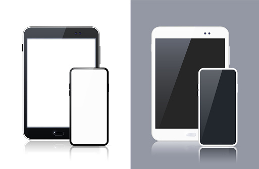 Set of Black and White Technological Gadgets . Isolated Vector Elements
