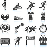 Marathon running Track And Field Race black & white set