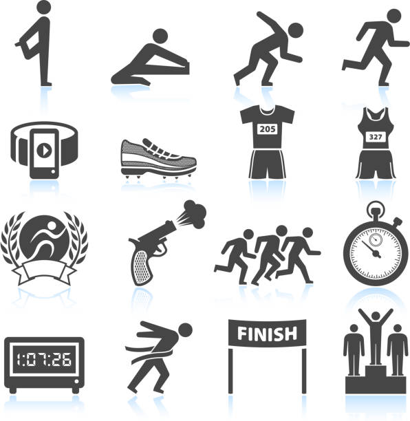set of black and white track and field icons - finish line stock illustrations, clip art, cartoons, & icons