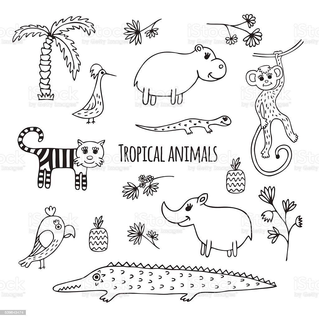 のセット白黒熱帯動物 - いたずら書きのベクターアート素材や画像を多数