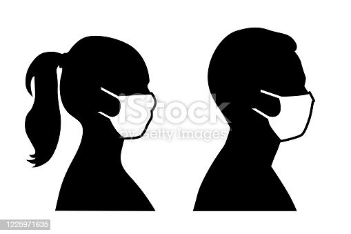 istock Set of black and white vector icons of a man and a woman wearing protective face mask  - covid-19 safety measures, restriction, covering face to prevent spread of the virus 1225971635