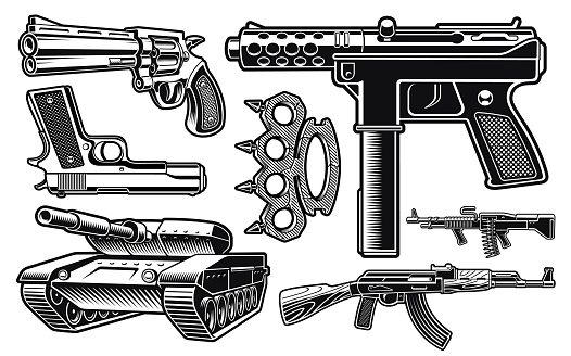 Set of black and white vector illustration of different weapon