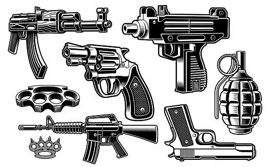 A set of black and white vector illustration of weapon