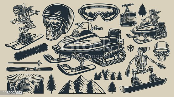 Set of black and white vector illustrations of winter sport theme with skier, snowboarder, snowmobile and manny others.