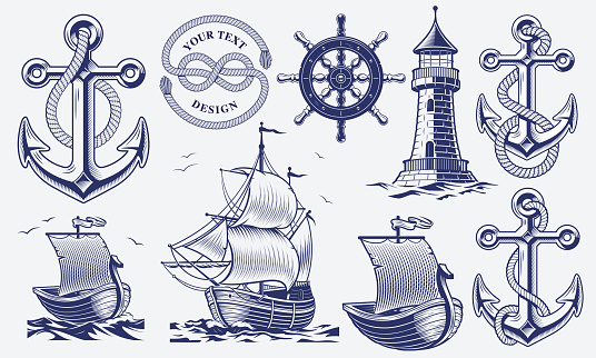 A set of black and white vintage nautical illustrations