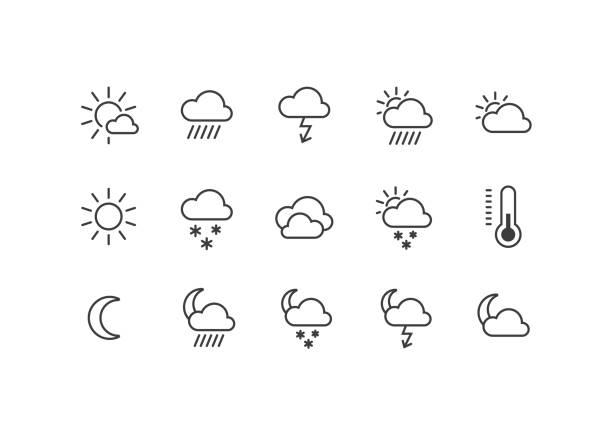 stockillustraties, clipart, cartoons en iconen met een reeks zwart-wit weerpictogrammen - regen zon