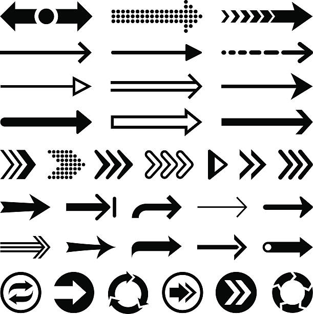 Set of black arrow designs on a white background Arrows straight stock illustrations