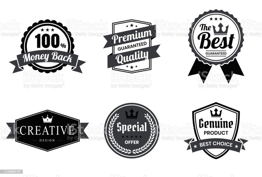 Satz von schwarzen Abzeichen und Etiketten - Design-Elemente - Lizenzfrei Abzeichen Vektorgrafik
