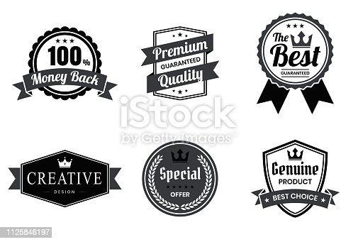 Set of 6 Black badges and labels, isolated on white background (100% Money Back, Premium Quality - Guaranteed, The Best - Guaranteed, Creative Design, Special Offer, Genuine Product - Best Choice). Elements for your design, with space for your text. Vector Illustration (EPS10, well layered and grouped). Easy to edit, manipulate, resize or colorize. Please do not hesitate to contact me if you have any questions, or need to customise the illustration. http://www.istockphoto.com/portfolio/bgblue