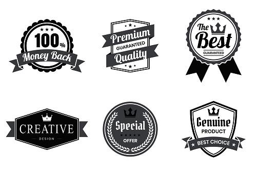 Set of Black Badges and Labels - Design Elements