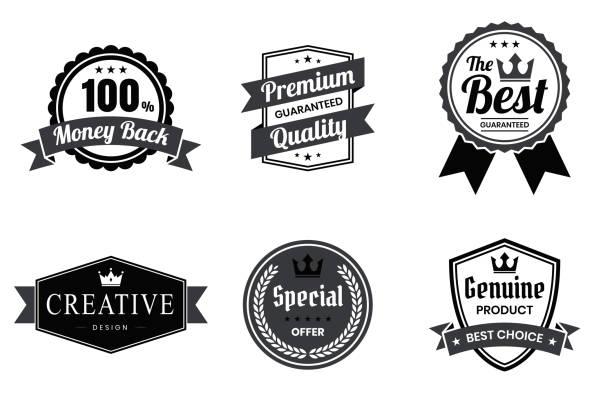 zestaw czarnych odznak i etykiet - elementy projektowe - przypinka stock illustrations