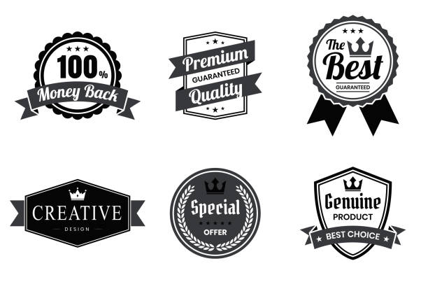 set of black badges and labels - design elements - przypinka stock illustrations