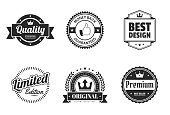 Set of 6 Black badges and labels, isolated on white background (Quality - Guaranteed, Money Back Guaranteed, Best Design, Limited Edition, Original - Premium Quality Guaranteed, Premium - Best Seller). Elements for your design, with space for your text. Vector Illustration (EPS10, well layered and grouped). Easy to edit, manipulate, resize or colorize.