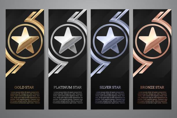 bildbanksillustrationer, clip art samt tecknat material och ikoner med uppsättning av svarta banners, guld, platina, silver och brons star, vector illustration.l - platina